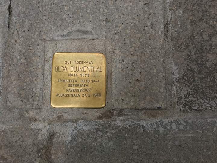The Stolperstein for Olga Blumenthal, professor at the University of Ca' Foscari in Venice