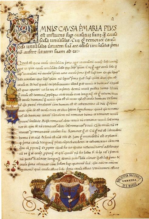 Liber de causis, Lat. 288, fol. 2r, Venezia, Biblioteca Marciana
