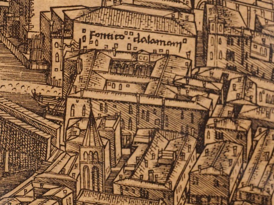 Plán Benátek Jacopo de Barbari z roku 1500 (dřevoryt v Museu Correr na Nám. Sv. Marka)