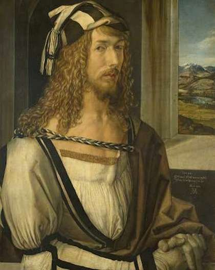 Vlastní portrét Albrechta Dürera z roku, 1498 (Galerie Prado Madrid)