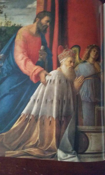 Erb a portrét Dožete Agostino Barbarigo (portrét od G. Bellini v kostele San Pietro Martire na ostrově Murano)
