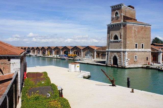 A view on the sheds of the Arsenale, where in the past they would build ships or parts of them