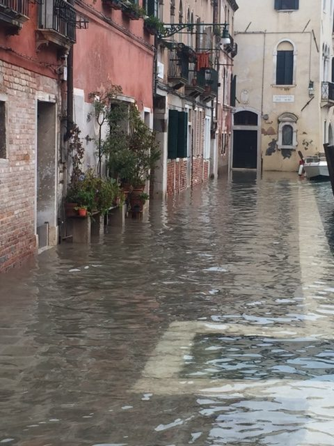 flooded waterfront by Tintoretto's house
