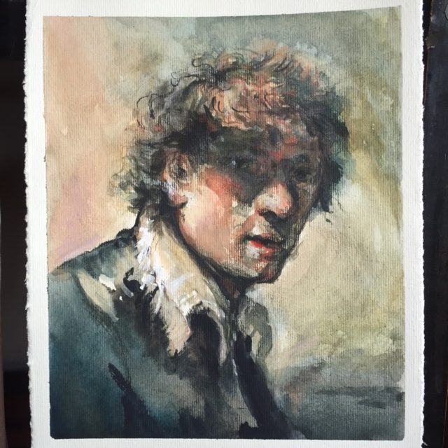 young Rembrandt self-portrait, watercolor by Sabine Grimal / 2019