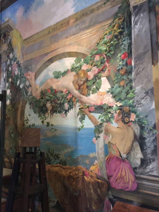 "photo 3: partial decoration of the ""enchanted garden"" in Mariano's workshop-studio with allegorical figures painted by him mainly using tempera on paper glued to hemp canvasses (Palazzo Fortuny House-Museum)"