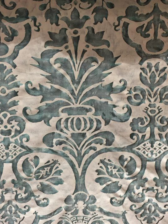 photos 37: this motif, picked up by Fortuny designers and called Navata, is available in various colours. This is the antique green & pale grey version