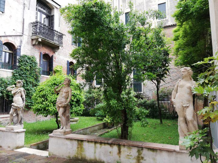 View of the garden of the Contarini Rocca degli Scrigni Palace in Venice