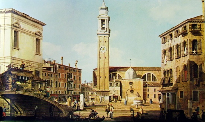 """Campo Santi Apostoli"" by Giovanni Antonio Canal, Canaletto, private collection, Milan"