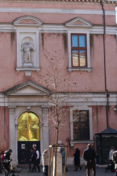 The main façade of the Scuola Angelo Custode, now the seat of the Lutheran Evangelic Church, Campo Santi Apostoli, Venice