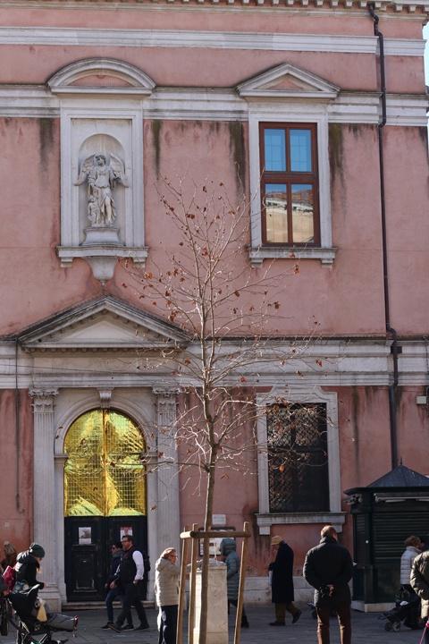 The main façade of the Scuola Angelo Custode, now the seat of the Lutheran Evangelic Church, Campo Santi Apostoli, Venice
