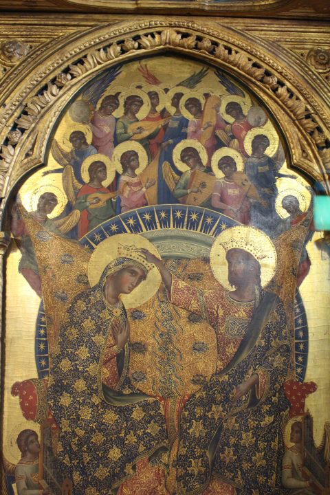 photo 1) Paolo Veneziano, detail of the central board with the Crowning of the Virgin and Angel Musicians; Paolo was active in Venice between 1333 and 1358, i.e. until a few years before his death
