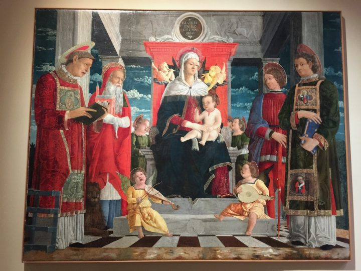photo 11) Francesco Benaglio (attr.): Madonna on a Throne with Child and Four Saints 1475c. In the past, the painting was attributed to other authors, including Gentile Bellini