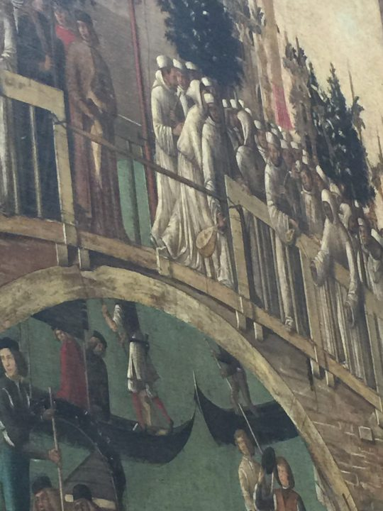 photo 15) Gentile Bellini: Miracle of the Cross, detail; of the two instruments held by the brothers, the large lute (more visible due to its size) is over the central bridge arch