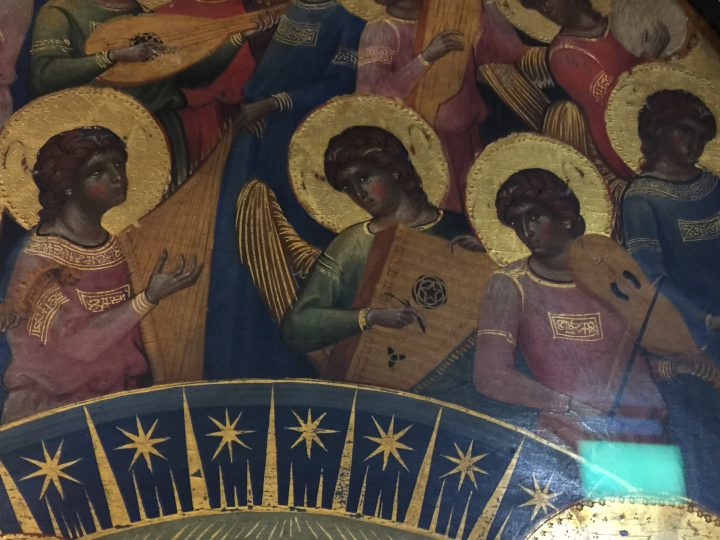 photo 2) additional detail with the three angels playing two plucked and a bowed arch instruments; a harp on the left, the beautiful psaltery also known as cittern at the centre and the only bowed instrument of the group, the lira da braccio, on the right