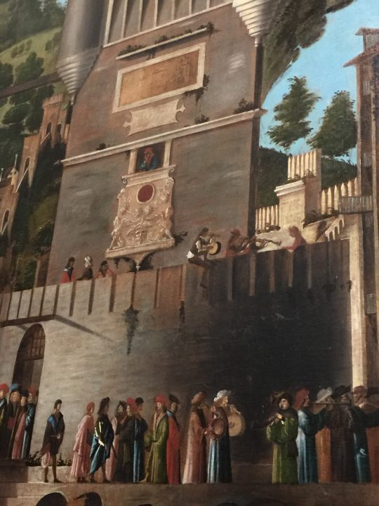 photo 21) Carpaccio: Meeting of the Betrothed and Departure for the Pilgrimage; detail of the instruments on the left of Ereus, Ursula's blond fiancé and husband-to-be (Saint Ursula Cycle)
