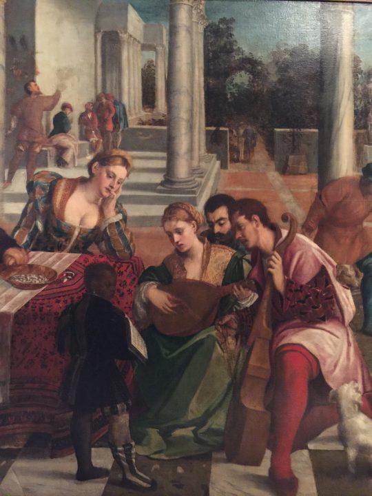 photo 23) Bonifacio de 'Pitati 1540-50 : Festin à la maison du mauvais riche ; détail
