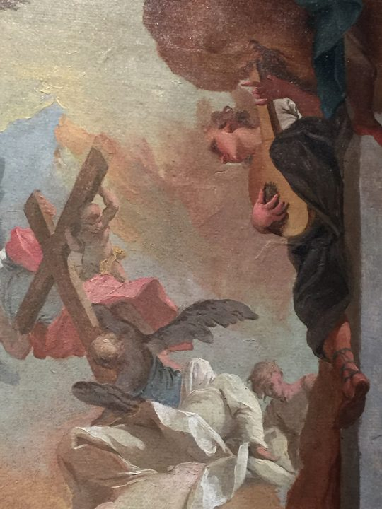 photo 29) Mattia Bortoloni 1729 c.: the Glory of Saint Cajetan, accompanied by a lute located in an interesting position from the point of view of the composition; detail