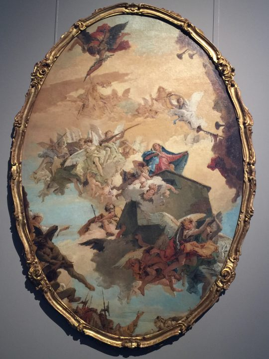 photo 31) Tiepolo: Transportation of the Holy House to Loreto. In addition to highlighting the celebrations for the transportation of the House, musical instruments now have an important aesthetic function.