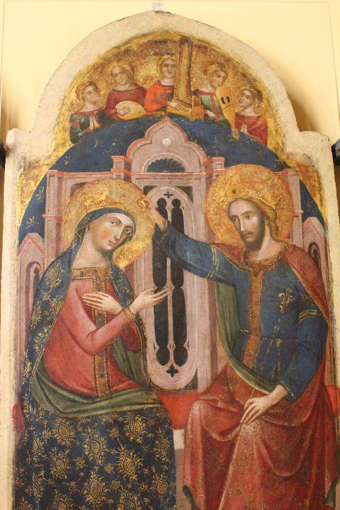 photo 4) Catarino : Triptyque du Couronnement de la Vierge et les Saints Lucie et Nicola da Tolentino ; panneau central avec Couronnement de la Vierge et les Anges