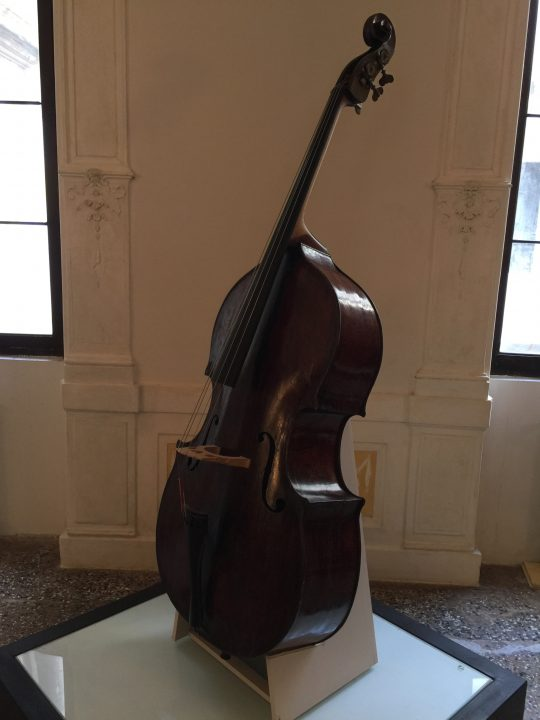 photo 11) Gofriller (or Goffriller) double bass; Gofriller worked in Venice between 1685 and 1710. He is also known for his cellos one of which, played by the famous girls of the Pietà, is now at Museo Vivaldi-Venezia (ViVe)