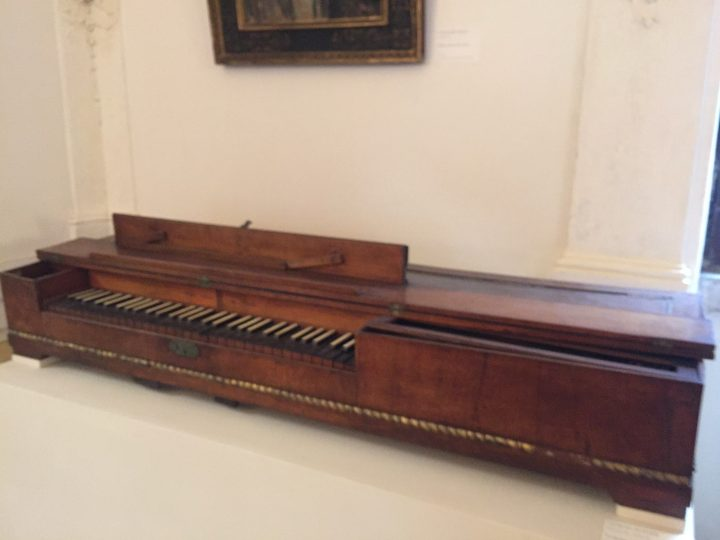 """photo 17) the Venetian fortepiano on display is a """"table"""" version with leather-covered hammers. It was made in San Lio in Venice by Giorgio Hoffer at the beginning of the 19th century and it comes from the Ravà collection. The Conservatory is also home to a grand fortepiano (Seuffert & Seidler, Wien) which was hardly ever made in the past and is used by the lucky students from the harpsichord class"""