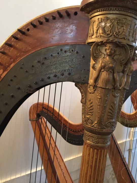 photo 9) detail of an Érard harp with a lovely decorative angel and the constructor's plaque