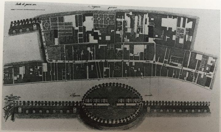 "image 2: ""Giuseppe Picotti, plan for a bridge between the city and the mainland with arrival station at Sacca della Misericordia, 1830. From ""Le Venezie Possibili"", L. Puppi e G. Romanelli, Electa, Milano 1985"