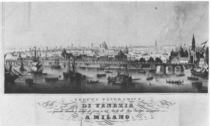 """image 4: """"Gaspare Biondetti Crovato, Panormaic view of Venice with the big railway that goes from the island of San Giorgio Maggiore to Milan, 1846. From """"Le Venezie Possibili"""", L. Puppi e G. Romanelli, Electa, Milano 1985"""""""