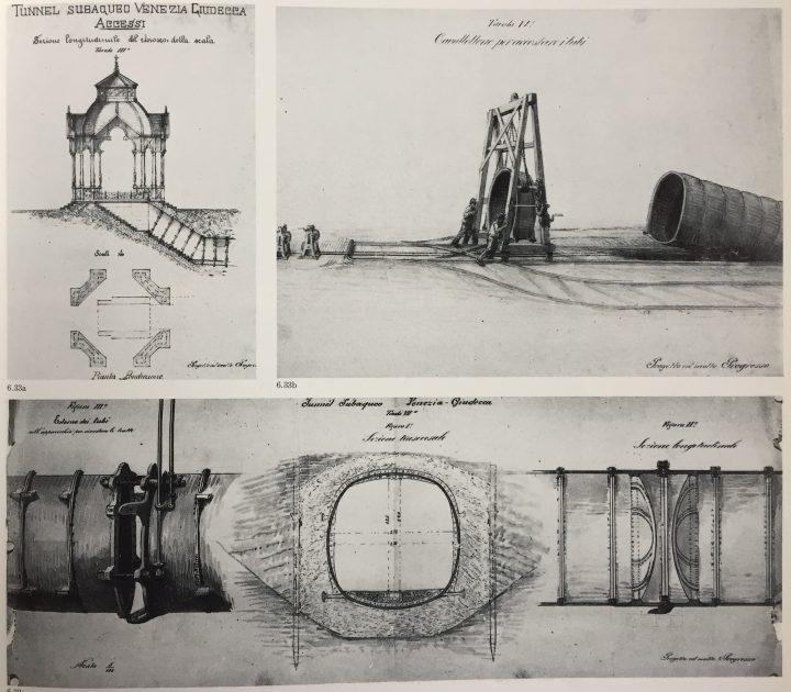"""image 5: """"G. Lotto, underwater tunnel Venice-Giudecca, 1893. From """"Le Venezie Possibili"""", L. Puppi e G. Romanelli, Electa, Milano 1985"""""""