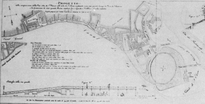 """image 6: """"L. Torelli, plan to connect St. Mark's Piazzetta with the island of Sant'Elena, 1872. From """"Le Venezie Possibili"""", L. Puppi e G. Romanelli, Electa, Milano 1985"""""""