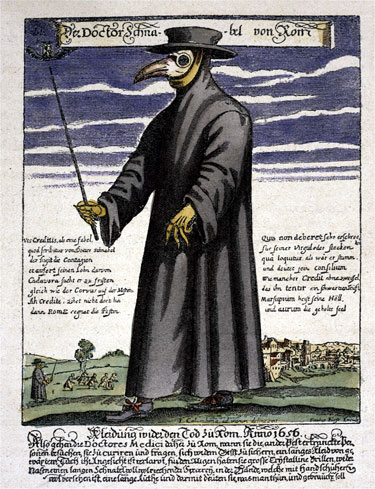 "The doctor of the plague in his typical ""uniform"""