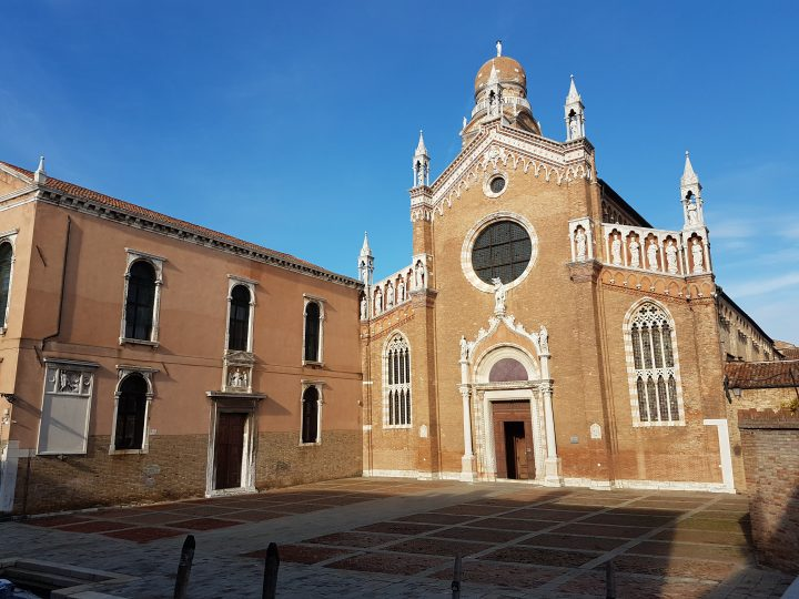 View of the façade of the Madonna dell'Orto Church in Venice