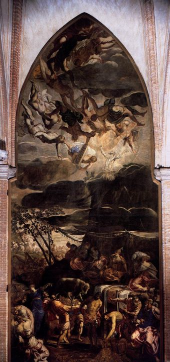 Jacopo Robusti Il Tintoretto, Moses receiving the Tablets of the Law and the Worship of the Golden Calf, 1562-1563