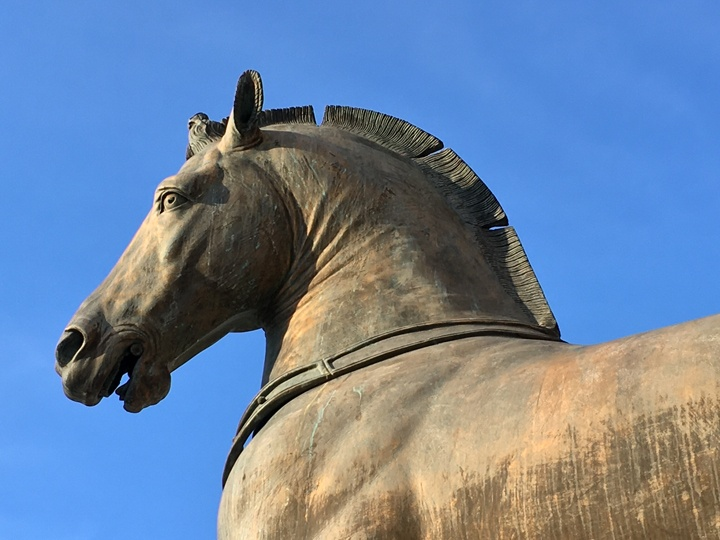 One of the modern horses in bronze standing on the terrace of St Mark's Basilica, Venice