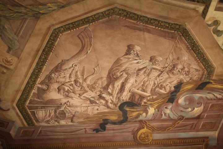 """alcuni tra i """"capitani da mar"""", altro grande vanto della famiglia Contarini, rappresentati in uno dei monocromi del soffitto"""