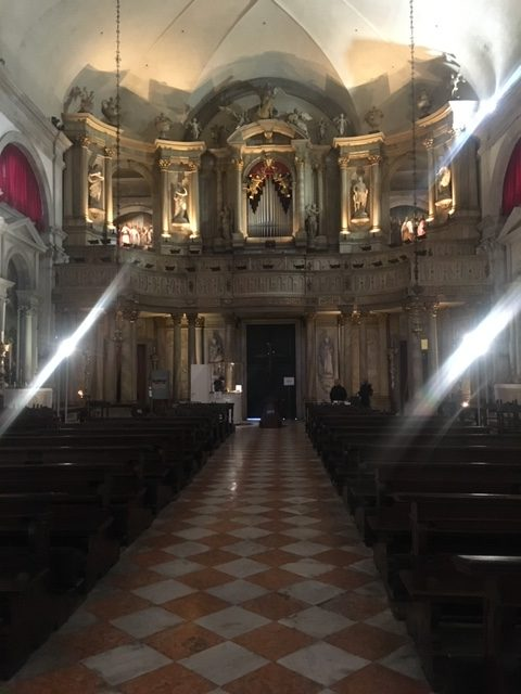 inside of the Church of Saint Roch in Venice