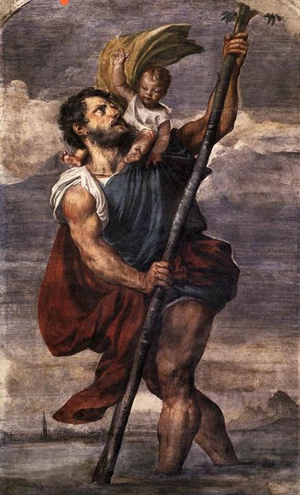 Titian, Saint Christopher, fresco, Doge's Palace
