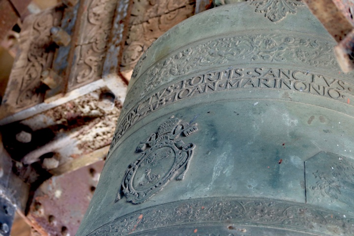 Detail of one of the bells in St Mark's campanile, Venice