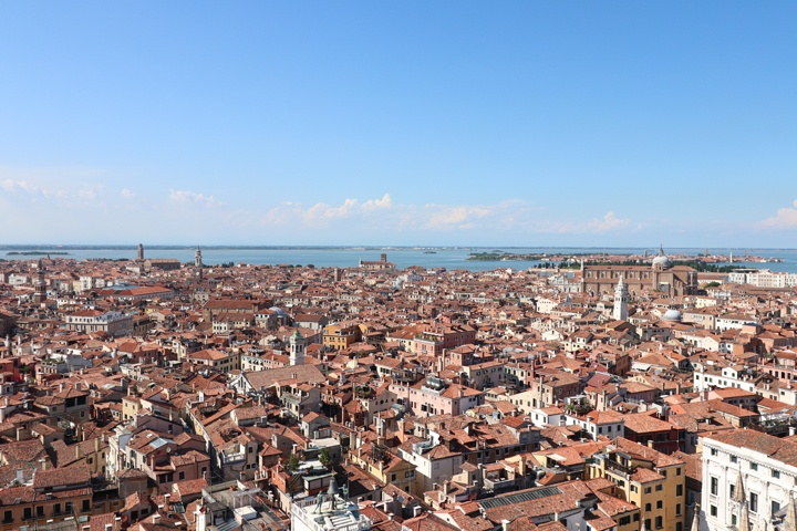 A view of Venice from above, taken from the Bell Tower in St Mark's square