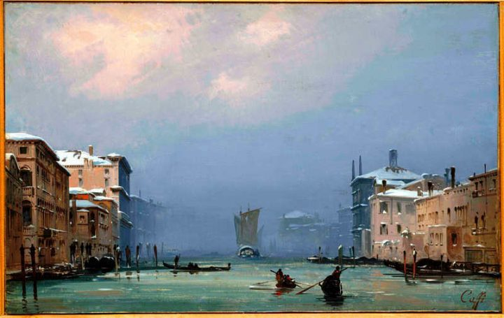Venice: Snow and Fog, 1842, Caffi