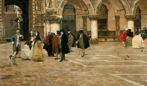 The Stroll in the Piazzetta, 1884, Favretto