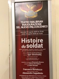 poster celebrating the reopening of the Malibran Theatre