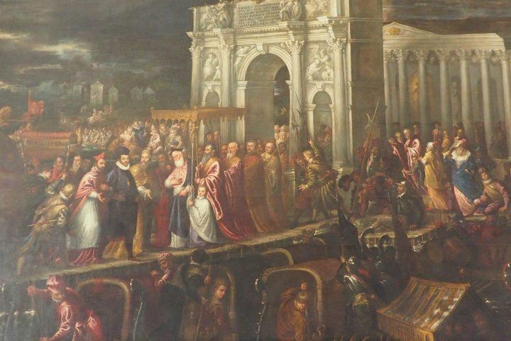 Přivítání francouzského krále Jindřicha III. A. Vicentino: Sál 4 dveří Dožecí palác