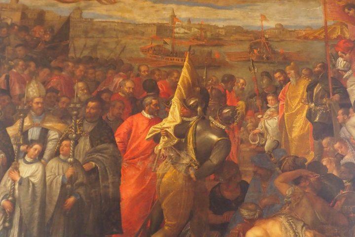 Návrat dožete A. Contarini po vítězné obraně Chioggi proti Janovu P. Veronese: Dožecí palác, Sál Velké Rady