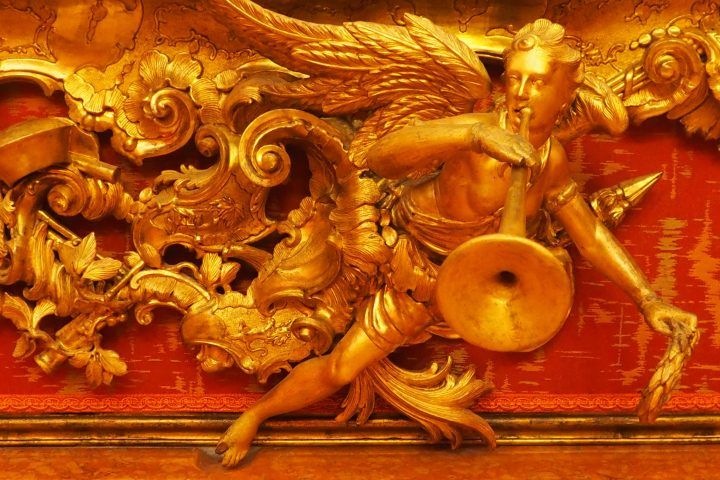 detail of the beautifully carved frame of Procuratore Contarini attributed to Antonio Corradini
