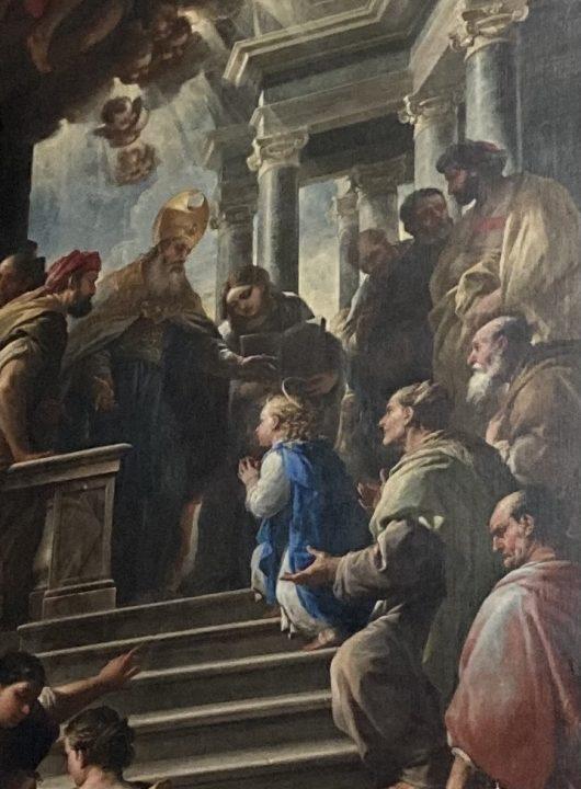 Détail du tableau de l'artiste Luca Giordano représentant La Présentation de la Vierge au Temple (1674)