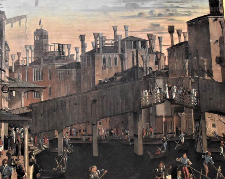 The Miracle of the Holy Cross at the Rialto Bridge, detail (by Vettor Carpaccio, Accademia Galleries)
