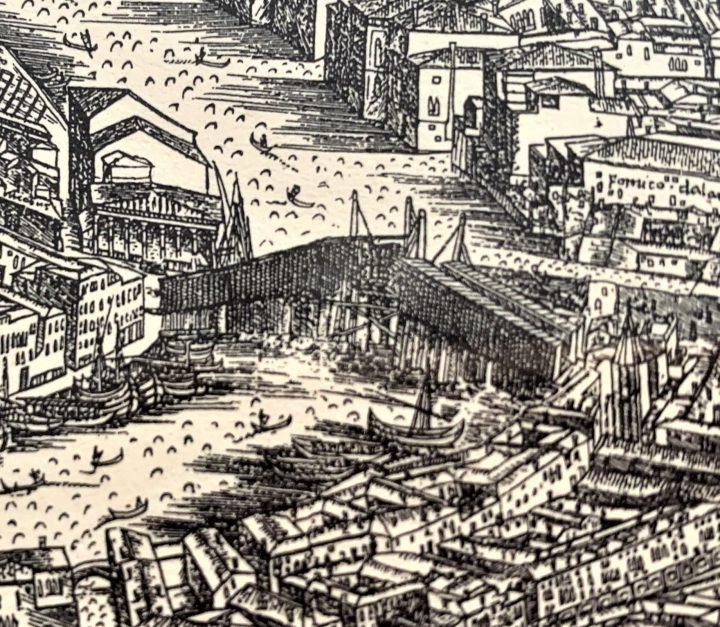 Bird-eye View of Venice by Jacopo de' Barbari, detail with the Rialto Bridge