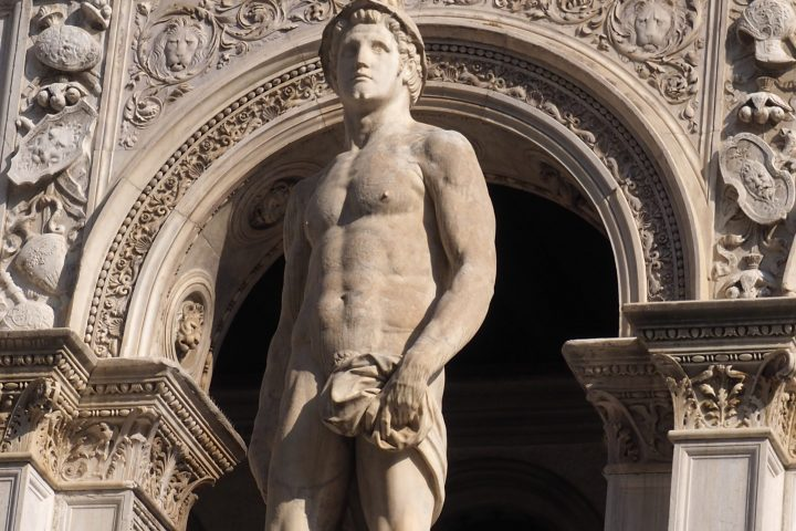 the statue of Ares at the top of the Giants' Staircase by Jacopo Sansovino