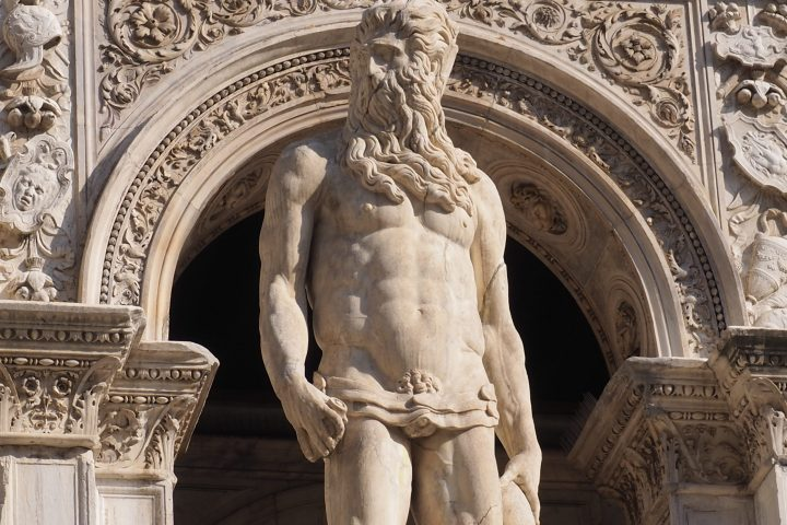 the statue of Poseidon at the top of the Giants' Staircase by Jacopo Sansovino
